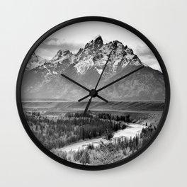 GRAND TETON BLACK & WHITE JACKSON HOLE WYOMING NATIONAL PARK Wall Clock
