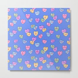 Feminist Valentine Candy Hearts in Blue, Dump Him Metal Print