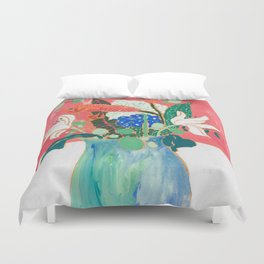 Bouquet of Flowers in Alexandrite Inspired Vase against Salmon Wall Duvet Cover