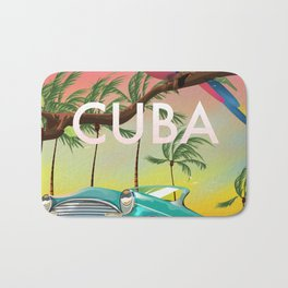 Cuba vintage travel poster print Bath Mat