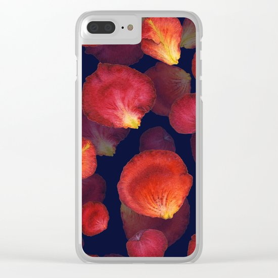 Rose Petal Pattern on Darck 04 Clear iPhone Case