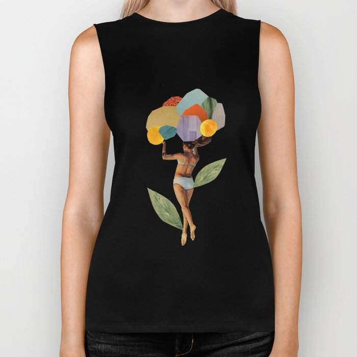 i walk out in the flowers and feel better Biker Tank