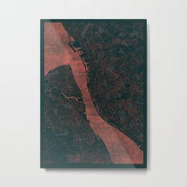 Liverpool Map Red Metal Print