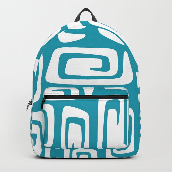 Mid Century Modern Cosmic Abstract 613 Turquoise Blue Backpack