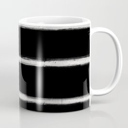 Skinny Strokes Gapped Horizontal Off White on Black Coffee Mug