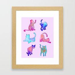 Rainbow Cats on Pink Framed Art Print