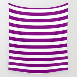 Narrow Horizontal Stripes - White and Purple Violet Wall Tapestry