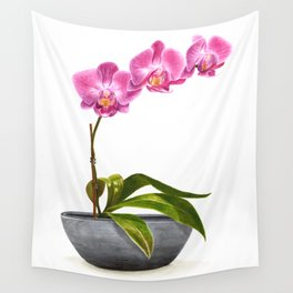 Watercolor Orchid Wall Tapestry