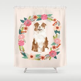 australian shepherd red merle floral wreath dog gifts pet portraits Shower Curtain