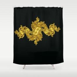 golden dragon on black Shower Curtain