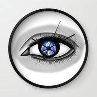 starbucks Wall Clocks featuring Starbucks Eye by Miguel Angel