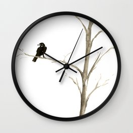 Raven in a Tree Wall Clock