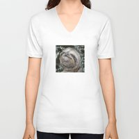 sloth V-neck T-shirts featuring Sloth by Bruce Stanfield