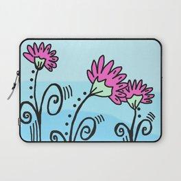 Three Spring Flowers - Blue Laptop Sleeve