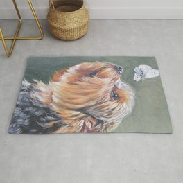 A realistic Yorkshire Terrier Portrait by L.A.Shepard fine art painting Rug