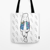holographic Tote Bags featuring Bunny Belle / Holographic by Millicent A Venton