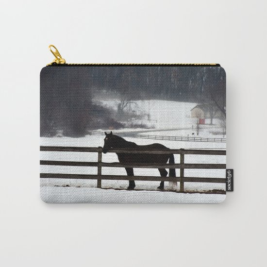 Horse in the Winter Fog Carry-All Pouch