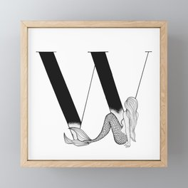 Mermaid Alphabet Series - W Framed Mini Art Print
