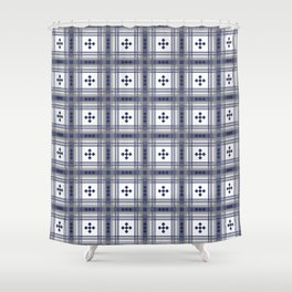 Preppy Plaid in Navy and Gray Shower Curtain