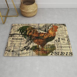 vintage typography barn wood shabby french country poulet chicken rooster Rug