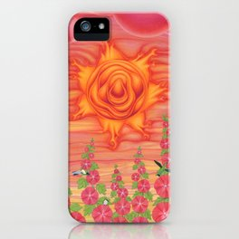 molten sun with hummingbirds and hollyhocks iPhone Case