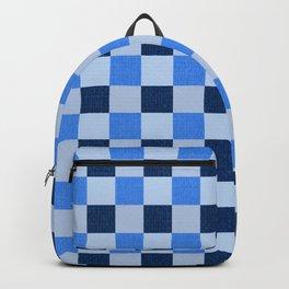 French Ocean Blue Checks Pattern Backpack