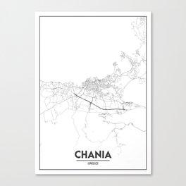 Minimal City Maps - Map Of Chania, Greece. Canvas Print