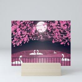 Swans and Cherry Blossoms Mini Art Print