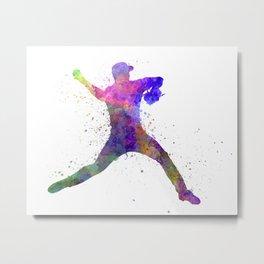 Baseball player throwing a ball 03 Metal Print