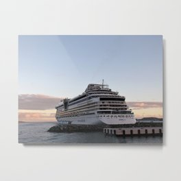 AIDAluna Cruise Ship in Road Town on Tortola during Sunset Metal Print