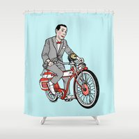 pee wee Shower Curtains featuring Pee Wee Herman by Michael Scarano