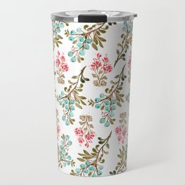 Colorful berries and Flowers Nature Pattern Travel Mug