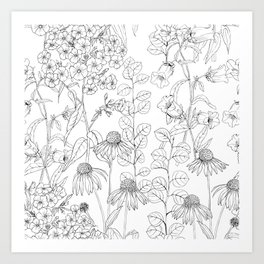 Black and white delicate flowers Art Print