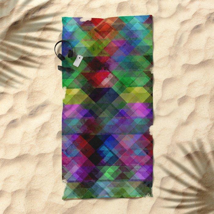 Geometric Grunge Abstract Beach Towel