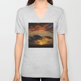Spectacular Tropical Paradise Sunset Over Ocean Unisex V-Neck
