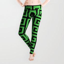 Greek Key (Black & Green Pattern) Leggings
