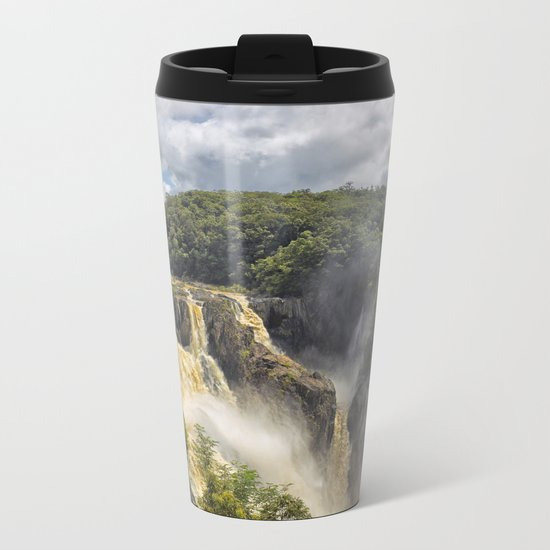 Beautiful wild waterfall Metal Travel Mug