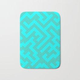 Cyan and Turquoise Diagonal Labyrinth Bath Mat
