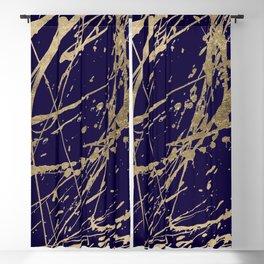 Elegant faux gold modern navy blue paint splatters Blackout Curtain