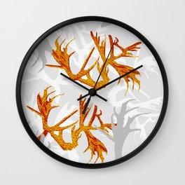 Horns Golden Pattern Wall Clock