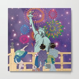 Hokusai People Seeing Statue of Liberty & Fireworks in Universe Metal Print