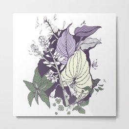 Garden Greenery - Purple Metal Print