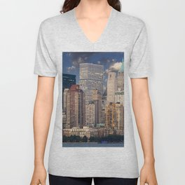 Downtown NYC at twilight Unisex V-Neck