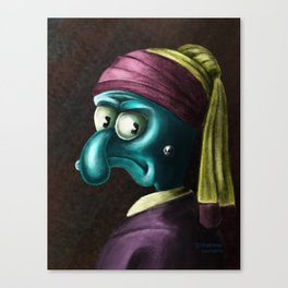 Squidward with a pearl earing Canvas Print
