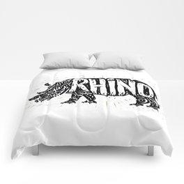Rhino in tribal style Comforters