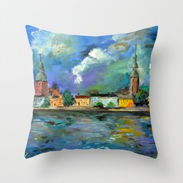 A Night of Color in Riga Throw Pillow