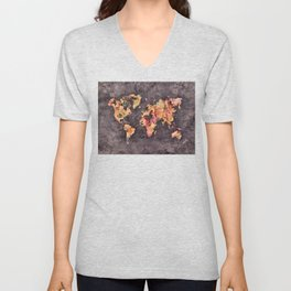 world map 68 Unisex V-Neck