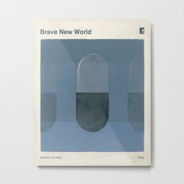 "Aldous Huxley ""Brave New World"" - Minimalist illustration literary design, bookish gift Metal Print"