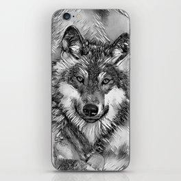 AnimalArtBW_Wolf_20170601_by_JAMColorsSpecial iPhone Skin