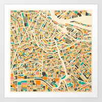 amsterdam Art Prints featuring Amsterdam Map by Jazzberry Blue